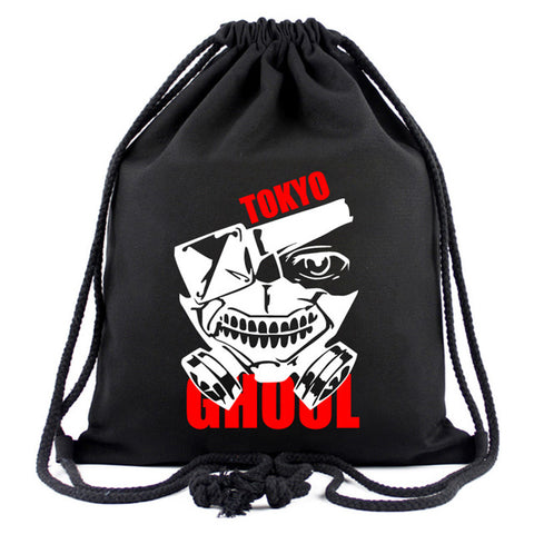 Japanese Anime Tokyo Ghoul Drawstring Bags Canvas Black Backpacks for Students Boy Girl Organizer Pouch Travel Drawstring Bag Happy Goods Store 1