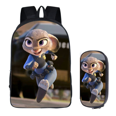 Japanese Anime Zootopia 2PC Set with Pencil Case Student Backpacks DIY Printing Cool School Bags For Boys Kids Men Book Bag New runningtiger Schoolbag Store 1