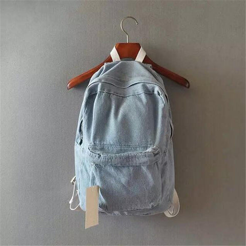 Japanese college wind denim backpack solid casual travel bag couple shoulder bag school bags for girls deep blue and light blue melisa white's store 1