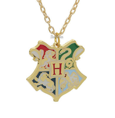 NEW Harry Potter Deathly Hallows Hogwarts School CREST Pendant Necklace 18 Chain Bioworld & Warner Bros. 1