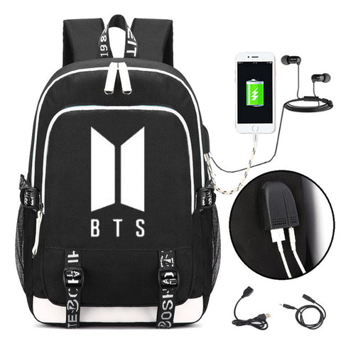 KPOP BTS Logo Backpack Bangtan Boys School Shoulder Bag Jimin Jung Kook JIN HONHUIQIXIN Store 1