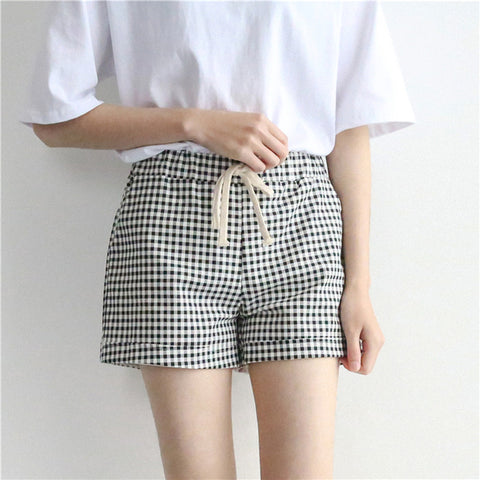 Kpop Harajuku Drawstring Slim Stripes Shorts Preppy Elastic Waist Cotton Short Black White Checkerboard Plaid Short Dropshipping kpop harajuku dropshipping Store 1