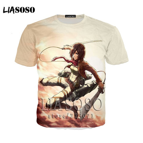 LIASOSO Japanese Anime Attack on Titan t shirt in men's T-shirt Short Sleeve Hip Hop Strretwear 3D O-neck summer tshirt at14 SOSO Lias Store 1