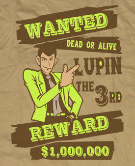 Custom Fanmade Lupin the 3rd Wanted Reward Shirt T-shirt tee Tshirt - Animetee - 2