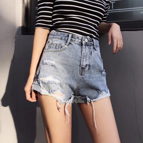 e2519856e1 ... Hot Shorts LYFZOUS Ripped Tassel High Waisted Women Summer Casual Denim  Black Solid Sexy Slim For