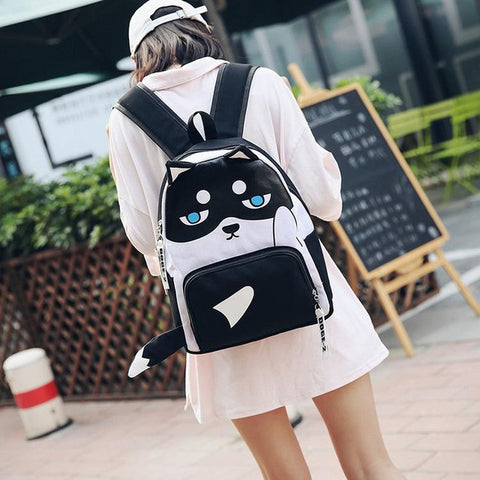 Lemon Kitten 2018 Cute Dog Backpack Funny Korean Students Female Canvas Women Backpack Solid School Bag Backpack For Young Girl lemon kitten Official Store 1