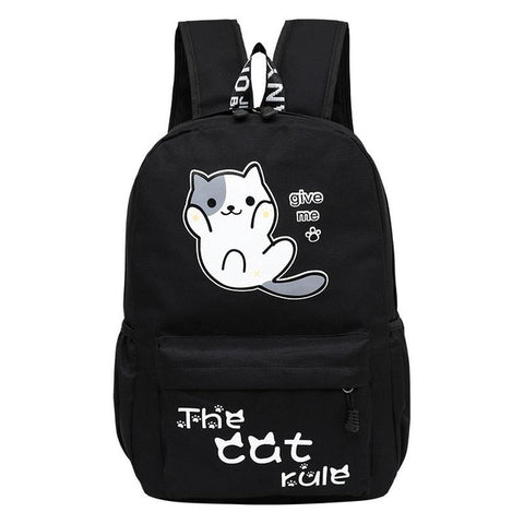 Lemon Kitten 2018 Cute Emoji Cat Women Backpack Japan Ring Cartoon Printed Students Adolescent Girl Shoulder Bag Backpack Female lemon kitten Official Store 1