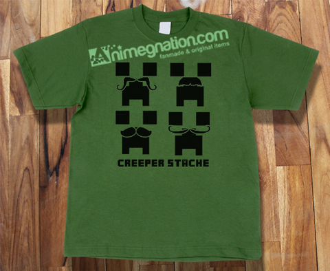 Trendy Pop Culture Minecraft Xbox playstation one 360 PC Gamer creepers stache shirt tshirt T-Shirt Unisex Toddler Ladies All Sizes - Animetee - 1