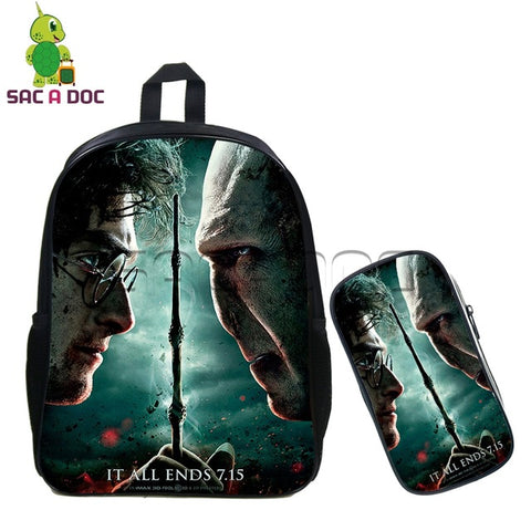 Magical Harry Potter Deathly Hallows Backpack 2 Pcs/set Children School Bags HP7 Travel Backpack for Teenage Girls Boys Bookbag Shop3126025 Store 1
