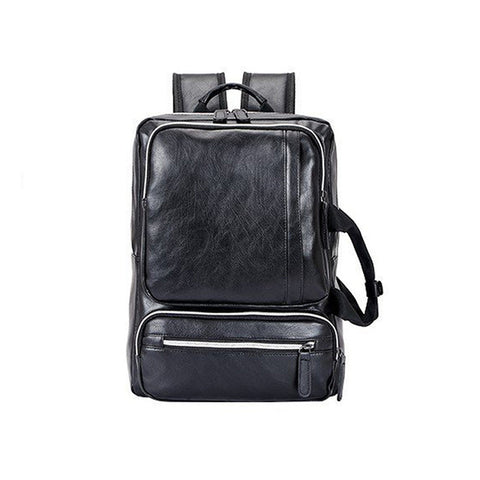 Men PU New Fashion Black Leather Backpack Teenager Vitage Backpacks Korean Japan Style School Laptop Bags Women Shoulder XA272WC Blue Birds Store 1