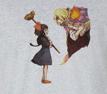 Premium Miyazaki Howl's Howls Moving Castle and Kiki Tee T-Shirt - Animetee - 1