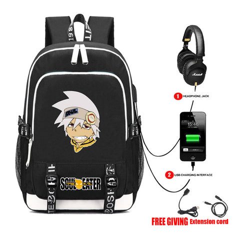 Multifunction USB Charge Headphone Jack Laptop Bags Teenagers Travel Bags  student bookbag for anime Soul Eater. Anime Backpack School Multifunction  ... 45a7be2f98a45