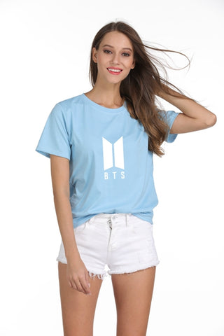 New Korean Style Summer Harajuku T Shirt Women BTS Bangtan Boys Tops O-Neck Tee Shirt Femme Letter Printed Cotton Camiseta Mujer Linsennia Harajuku Store 1