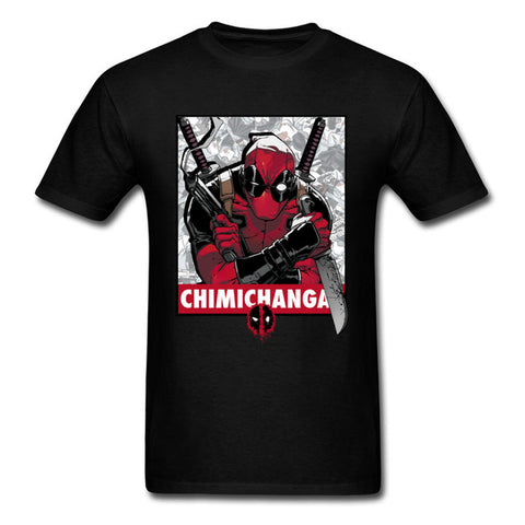 New Tees Fashion Brand Black T Shirts For Men Deadpool T Shirt Men Marvel Anime Movie Printing Plain Tshirt USA Plus Size Bestshirt Store 1