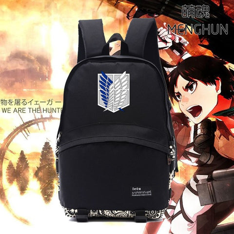New cool black school backpack tv anime cartoon backpack Attack on titan freedom of liberty emblem logo printing backpack NB187 MENGHUN Anime Store 2