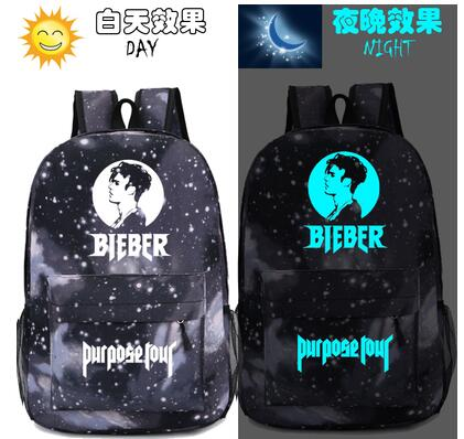 New fashion printling canvas men backpack Justin Bieber Cosplay women Schoolbag purpose Cartoon Bag Luminous Anime shoulder bag  1