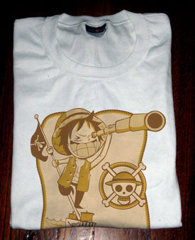 PREMIUM Custom Design & Drawn One Piece Chib Monkey D Luffy Sail T-Shirt Tee - Animetee - 1