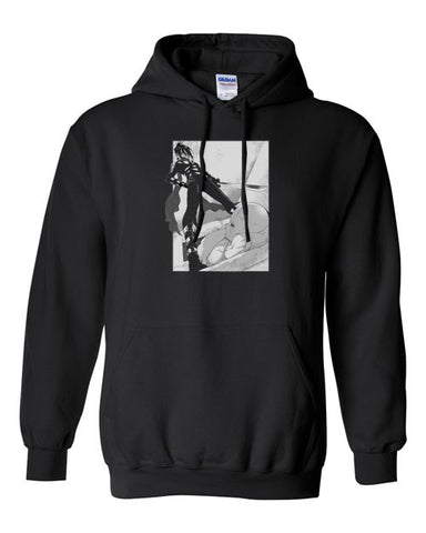 Caped Baldy Saitama One Punch layind down Sonic Fight Pullover Dark Hoodie Hooded Sweatshirt - Animetee - 1