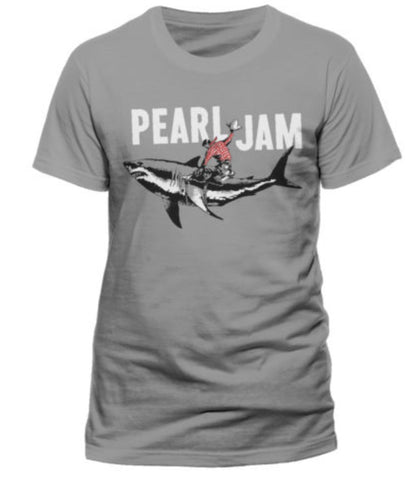 Officially Licensed PEARL JAM Shark Cowboy T-shirt Grey - Animetee