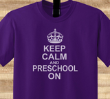 Trendy Pop Culture Keep calm and preschool Pre School On education Elementary student Tee T-Shirt Ladies Youth Adult Unisex - Animetee - 1