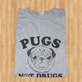 Trendy Pop Culture Pugs Not drugs DARE marijuana weed cocaine ecastacy puppy  Tee T-Shirt Ladies Youth Adult Unisex - Animetee - 1