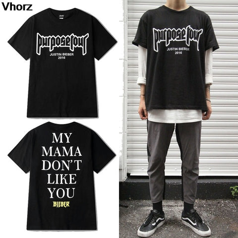 Purpose Tour T shirt Men Women Casual Hip Hop Skateboard Justin Bieber T-Shirt Streetwear Tee my mama don't like you Small Koala Store 1
