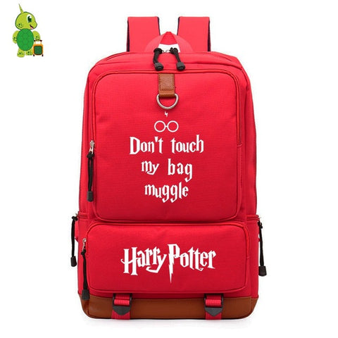 Red Harry Potter Magical Backpack Don't Touch My Bag Muggle Prints Laptop Backpack for Teenagers Students Large School Bags Anime Bag World Store 1
