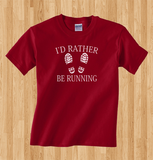 Trendy Pop Culture I'd I would rather be running marathon cardio track field 5k 26.2 hiking jogging  Tee T-Shirt Ladies Youth Adult Unisex - Animetee - 1