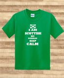 Trendy Pop Culture I am Scottish we dunnae keep calm Scottland pride flag colors football Soccer Tee T-Shirt Ladies Youth Adult Unisex - Animetee - 1