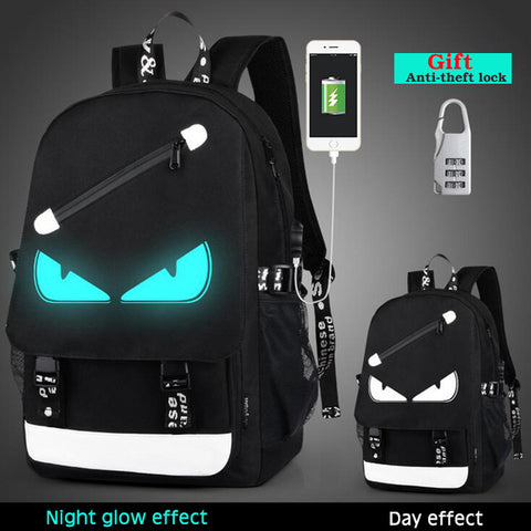 Senkey style Men Backpack Fashion External USB Charging Laptop Mochila Cartoon Anime Student Luminous School Bags For Teenagers China beijng Ruky bags Co., Ltd. Store 2
