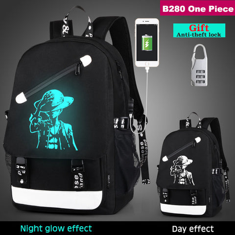 a3b7ba5cca02 Japanese Anime Bag Senkey style USB Charge Men Backpacks Luminous School  Backpack Bag For Teenager Anti-theft Laptop Backpack Travel Mochila AT_59_4