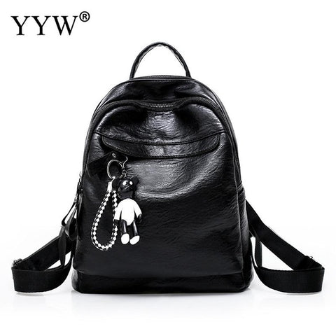 Solid PU Leather Small Backpack Female Ita Bag School Backpacks for Children  a case for Phone 35407f76bbd4f