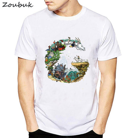Spirited Away Letters Print T Shirt Men Japanese Anime T-shirt Kaonashi no face Fashion Summer Tops Tees camisetas hombre CHD Store 1