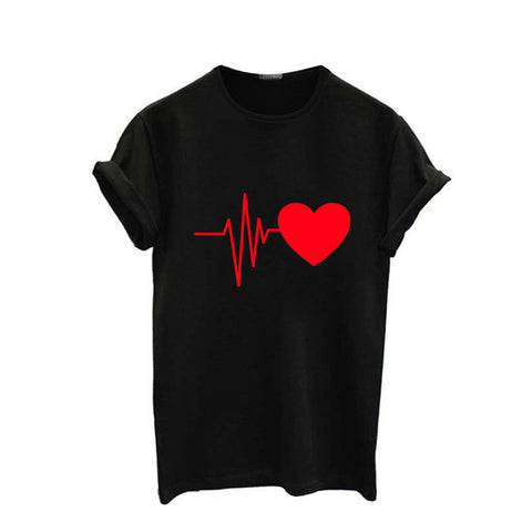Starwee 2018 New Fashion Women Love Heart Print T Shirt Funny Short Sleeve Shirt Ladies Top Casual Bts T-shirt O Neck Black Tees FreeFly Store 1