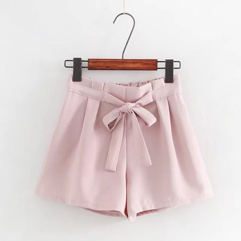 Summer Fashion Candy Color Female Shorts Japanese Sweet Casual Bandage Bow Tie Women Pink Shorts Cute Beach Pleated Black Shorts Himifashion Official Store 1