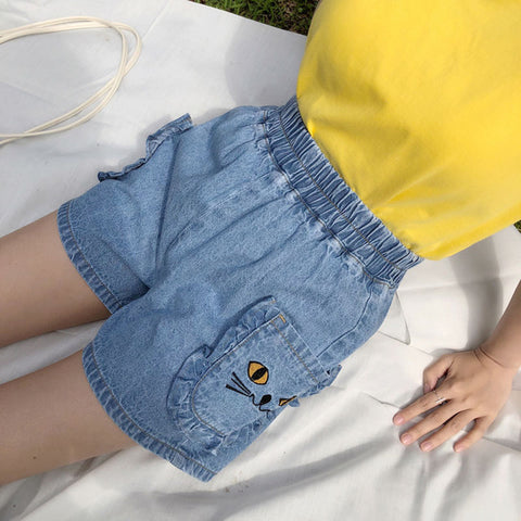 Hot Shorts Summer Hot Sale Cartoon Cat Embroidered Denim  Elastic Waist Pockets Sweet Japan Style Loose All-match Kawaii Jeans AT_43_3