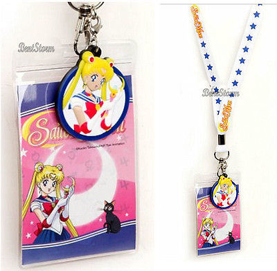 NEW Sailor Moon STAR White Lanyard PVC Rubber Charm ID Holder Japanese Anime   Sailor Moon 1