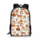 THIKIN Pugs Schoolbags For Children Girls Boys Fashion Bookbags Brand Designer Students Backapcks Women Corgi Mochila Escolar Loveu Adorable Bags Store 3