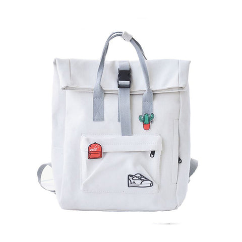 b2529752ab1f TTOU Women Fashion Backpack with Cute Badge Large Capacity Canvas Backpack  Casual School Backpack for Teenager