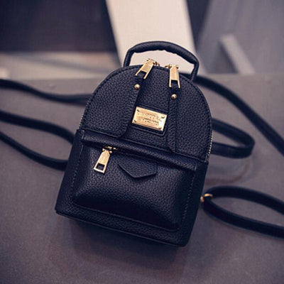 00d74aa843f2 University College Backpack The New Women Female Shoulder Bag Messenger  Mini Small Wind Pu Leather Simple Retro Leisure Black BagAT_63_4