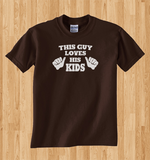 Trendy Pop Culture This guy loves his kids family man trophy husband father world's greatest dad Tee T-Shirt Ladies Youth Adult Unisex - Animetee - 1