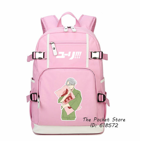 Top Quality Anime YURI on ICE Yuri Katsuki Victor Nikiforov Printing Backpack Cosplay School Bags for Girls Women Shoulder Bags The Pocket Store 1