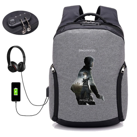 USB Charge Anti Theft backpack Japan anime psycho-pass backpack Travel Backpack School Bag boy girl bag student book packsack COSPLAY81888 Store 1
