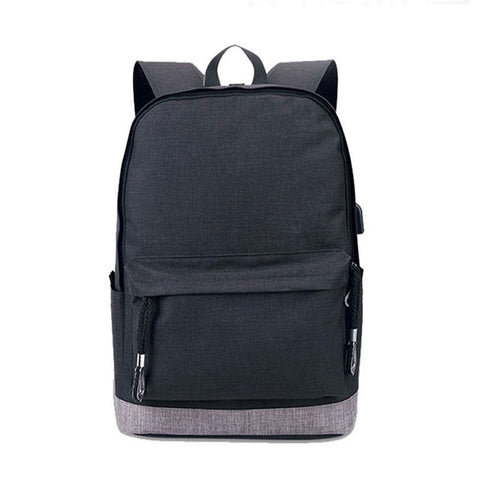 faeadcb85b2e Boys Backpack Bag USB Charging Teen Black School Bags for Men Schoolbag  Teenage Canvas Back Pack Male High school Bag 2018 AT_61_4