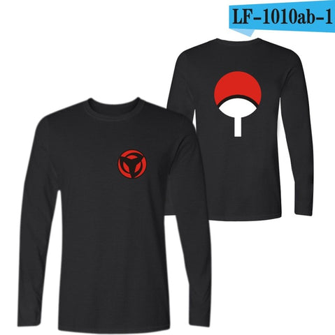 Uchiha Syaringan T-shirt Long Sleeve Hokage Ninjia Cartoon Funny T Shirts Naruto Classic Anime Black Tee Shirt Men Cotton youself Store 1