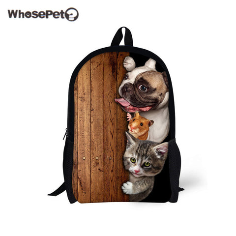 WHOSEPET Cute Pugs Primary Schoolbag for Boys Girls Kawaii Cats Shoulder Bags Women Men Backpacks Travel Fashion Satchel Bookbag WhosePet Official Store 1