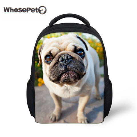 WHOSEPET Pugs Cute School Bag For Toddler Baby School Casual Rucksack Boys Children 12 Inch Kindergarten Animals Shoulder Bags WhosePet Official Store 1