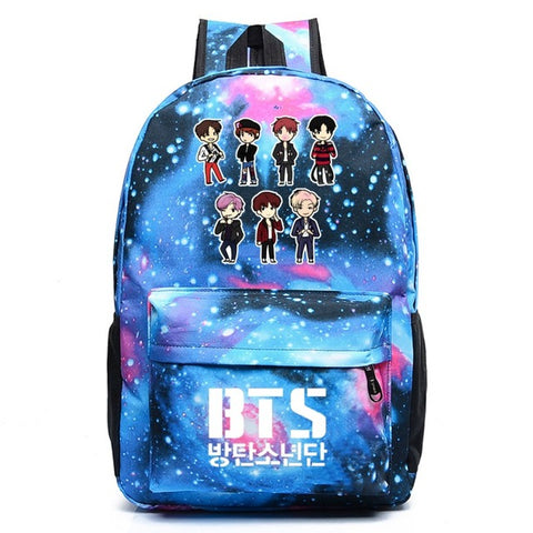 WISHOT BTS Backpack Galaxy School Bags Bookbag Children Fashion Shoulder Bag Students Backpack Travel Bag for teenagers High Quality Backpack Store 1