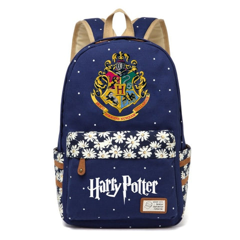WISHOT Harry Potter Canvas bag Flowers wave point Rucksacks backpack Girls women Student School Bags travel Shoulder Bag bookbag High Quality Backpack Store 1