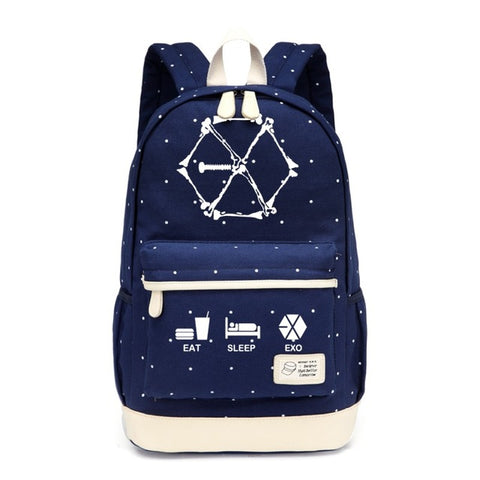 WISHOT Hot KPOP EXO Canvas bag Flower backpack Girls women Student SchoolBag travel Shoulder Bag kids bookbag High Quality Backpack Store 1